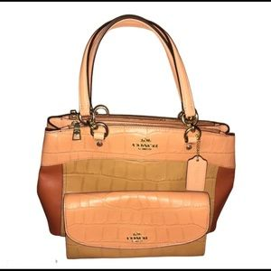 COACH LEATHER MULTI BROOKE CARRYALL & WALLET NWT